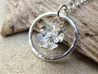 Eco-Silver and Fairtrade 18ct Gold Flower Pendant
