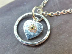 Sterling Silver Heart Pendant with Fairtrade 18ct Gld and Fine Silver Detail