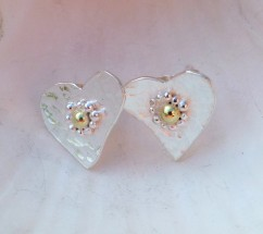 Hammered Heart Studs with Fairtrade 18ct Gold and Fine Silver Detail