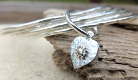 Stacking Bangles and Fairtrade Gold Heart Charm