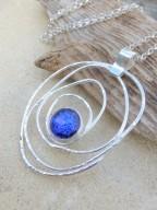 Eco-Silver and Dichroic Glass Art Deco Pendant